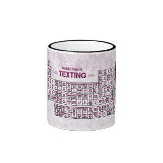 Periodic Table of Texting (Pink) Ringer Coffee Mug
