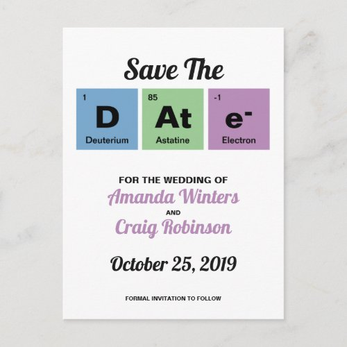 Periodic Table of the Elements Announcement Postcard