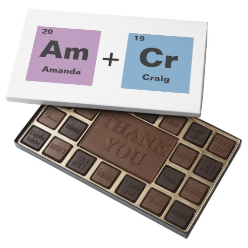 Periodic Table of the Elements Wedding Favor 45 Piece Box Of Chocolates