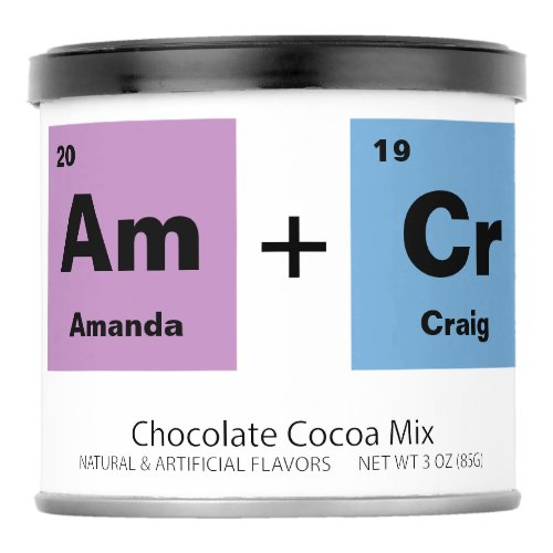 Periodic Table of the Elements Wedding Favor Hot Chocolate Drink Mix