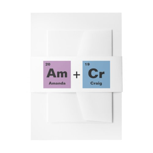 Periodic Table of the Elements Wedding Invitation Belly Band