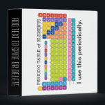 """Periodically Periodic Table of Elements 3 Ring Binder<br><div class=""""desc"""">A fun chart for science teachers and geeks with a funny slogan - I use this periodically. I made this chart with right colors and a modern design.</div>"""