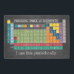 """Periodically Periodic Table of Elements Chalkboard Placemat<br><div class=""""desc"""">A fun chart for science teachers and geeks with a funny slogan - I use this periodically. I made this chart with fresh,  bright colors and a modern design.</div>"""
