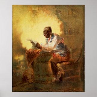 Periódico de la lectura del hombre negro por luz d póster