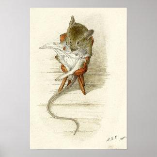 Periódico de la lectura del ratón póster
