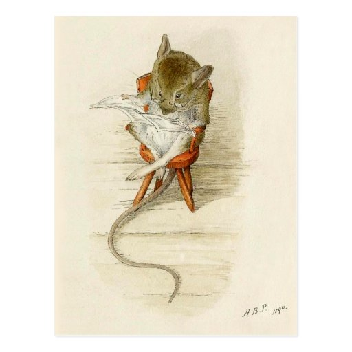 Periódico de la lectura del ratón tarjeta postal