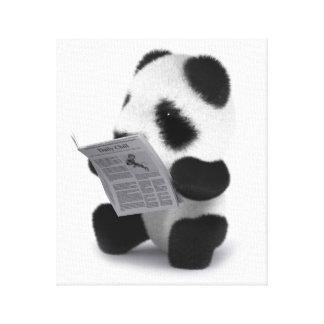 periódico de la panda del bebé 3d impresión en lienzo estirada