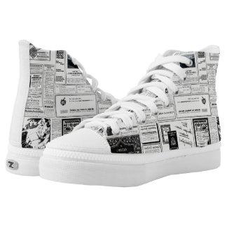 Periódico de la publicidad del vintage zapatillas