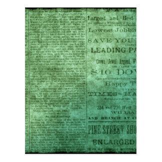 Periódico del vintage (verde) tarjetas postales