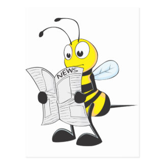Periódico feliz de la lectura de la abeja postales