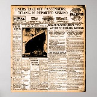Periódico hundimiento divulgado titánico del 15 de póster