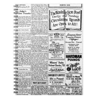 Periódico negro y blanco viejo, anuncio retro del libretas espirales