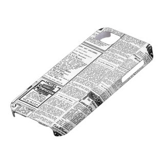 Periódico negro y blanco viejo, anuncio retro del  iPhone 5 cobertura