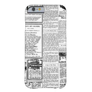 Periódico negro y blanco viejo, anuncio retro del funda de iPhone 6 barely there