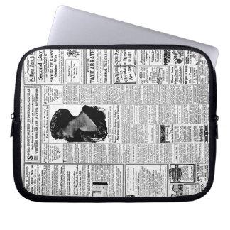 Periódico negro y blanco viejo anuncio retro del funda ordendadores