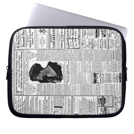 Periódico negro y blanco viejo, anuncio retro del  funda ordendadores