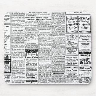 Periódico negro y blanco viejo, anuncio retro del alfombrilla de ratón