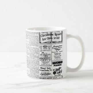 Periódico negro y blanco viejo, anuncio retro del taza clásica