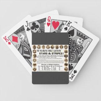 Periódico semanal de 1918 estrellas y de las rayas cartas de juego