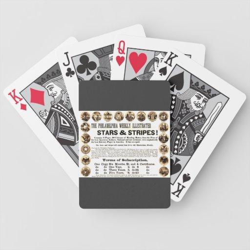 Periódico semanal de 1918 estrellas y de las rayas barajas de cartas