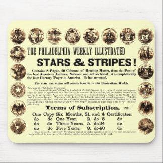 Periódico semanal de 1918 estrellas y de las rayas alfombrilla de raton