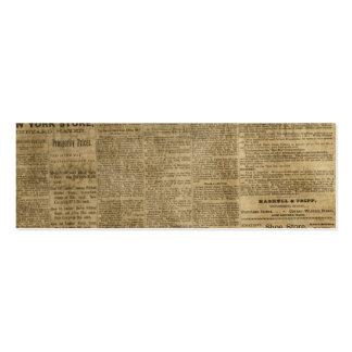 Periódico viejo del vintage tarjetas de visita mini