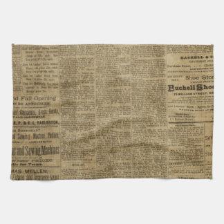 Periódico viejo del vintage toalla de cocina