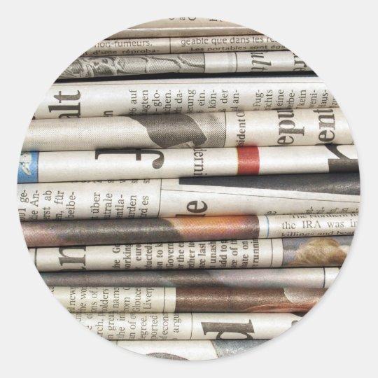Periódicos Pegatina Redonda