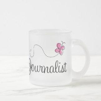 Periodista rosado taza de cristal