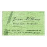 Periodista verde elegante   del escritor de la plu plantillas de tarjeta de negocio