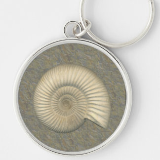 Perisphinctes Ammonite Fossil Silver-Colored Round Keychain