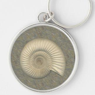 Perisphinctes Ammonite Silver-Colored Round Keychain