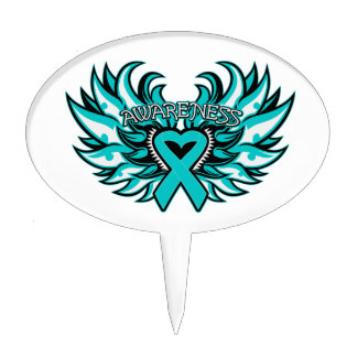 Peritoneal Cancer Awareness Heart Wings Oval Cake Topper