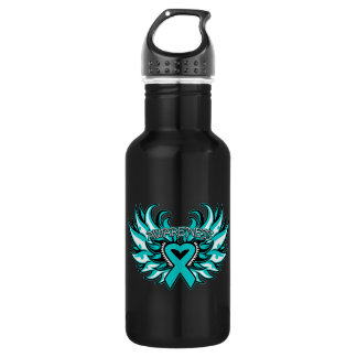 Peritoneal Cancer Awareness Heart Wings 18oz Water Bottle