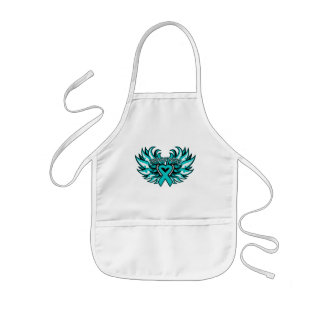 Peritoneal Cancer Awareness Heart Wings.png Kids' Apron