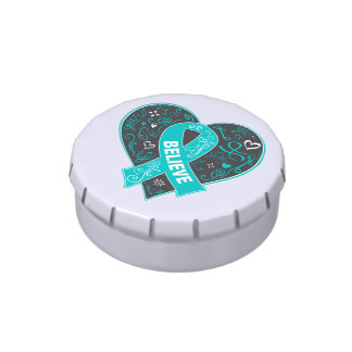 Peritoneal Cancer Believe Ribbon Heart Candy Tin