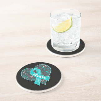 Peritoneal Cancer Believe Ribbon Heart Coaster