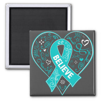 Peritoneal Cancer Believe Ribbon Heart 2 Inch Square Magnet