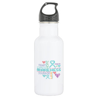 Peritoneal Cancer Colorful Slogans 18oz Water Bottle