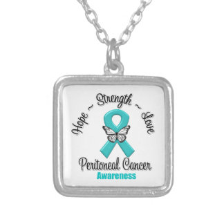 Peritoneal Cancer Hope Strength Love Square Pendant Necklace
