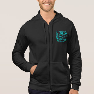 Peritoneal Cancer Hope Words Collage Hooded Sweatshirts