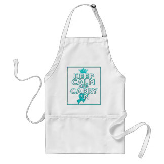 Peritoneal Cancer Keep Calm and Carry ON Adult Apron