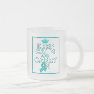Peritoneal Cancer Keep Calm and Carry ON 10 Oz Frosted Glass Coffee Mug