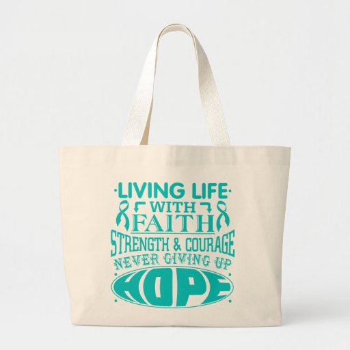 Peritoneal Cancer Living Life with Faith Tote Bags