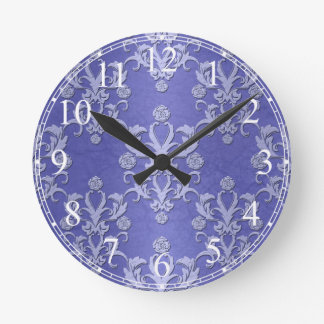 Periwinkel Blue and White Floral Damask Pattern Round Wall Clocks