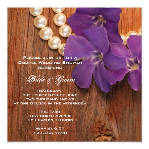 Periwinkle and Barn Wood Country Couples Shower 5.25x5.25 Square Paper Invitation Card