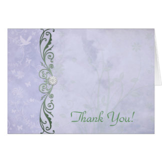 Periwinkle and Green Floral Wedding Thank You Card