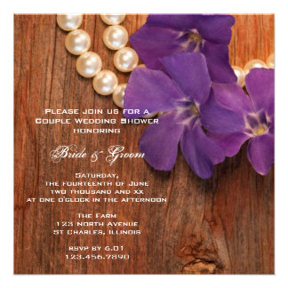 Periwinkle and Pearls Country Couples Shower Announcements