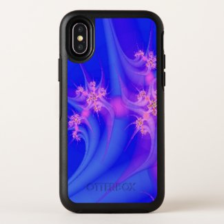Periwinkle and Pink Floral Art OtterBox iPhone Case
