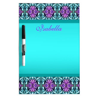 Periwinkle and Turquoise Round Mosaic Pattern Dry-Erase Board